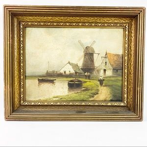 Antique Oil on Canvas Windmill Landscape Signed
